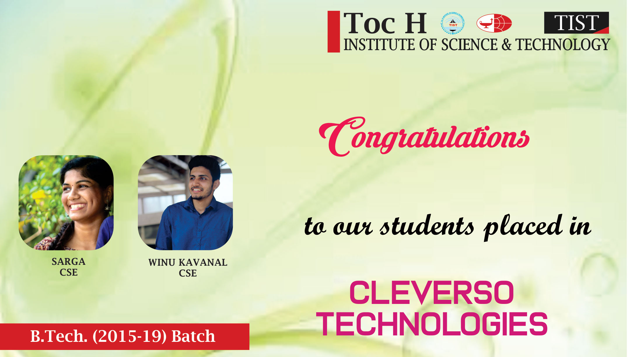 Toc H Institute of Science and Technology(NBA & NAAC Accredited) in